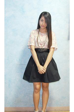 beige Topshop blouse - black soiree skirt - gold Aldo necklace - black belt - si