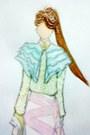 White-purse-beige-heels-light-pink-skirt-lime-green-blouse-aquamarine-ca