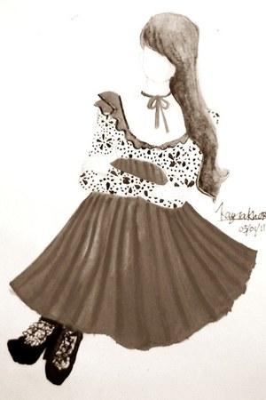 cream blouse - magenta skirt - dark brown boots