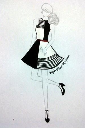 white dress - red belt - black heels