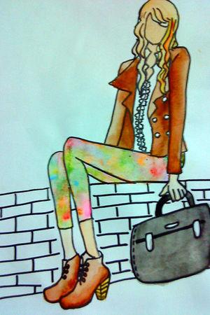 white top - brown coat - pants - brown boots - black bag