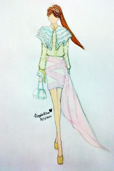 aquamarine cape - white purse - lime green blouse - light pink skirt
