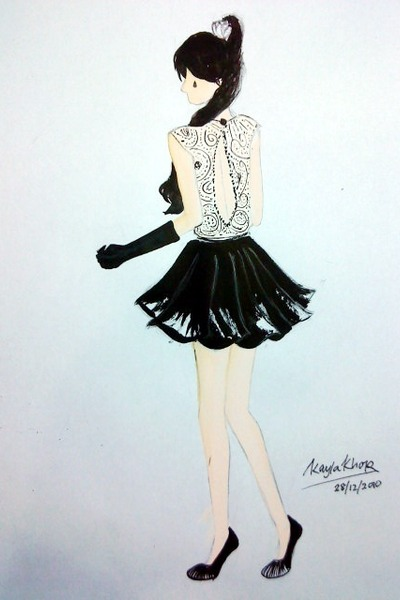 black skirt - white accessories - white sheer blouse - black gloves