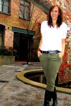 black rain DSW boots - white Forever 21 shirt - olive green Forever 21 pants