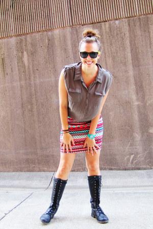 turquoise blue Forever 21 skirt - black Nordstrom Rack boots