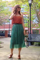 burnt orange pleated Forever 21 top - teal pleated Forever 21 skirt