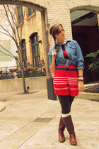 ruby red H&M dress - brown fabric scrap boots - blue Forever 21 top