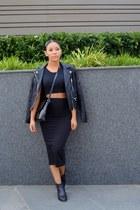 leather Topshop boots - leather Zara jacket - patent Zara bag
