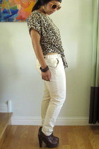 leopard print Target shirt - lace-up booties f21 clogs - f21 pants - H&M glasses