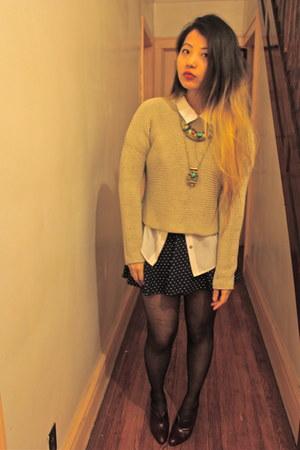 white Jcrew shirt - brown vintage skirt - blue polka dots Forever21 heels
