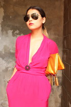 hot pink vintage dress - gold DIY purse - black aviators Ray Ban sunglasses
