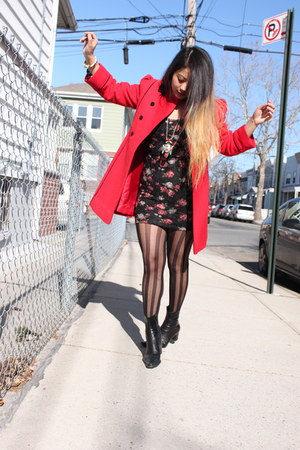 vintage from Ebay coat - vintage boots - Urban Outfitters dress