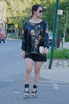 sequined vintage from Ebay blouse - All Saints shoes - clutch thrifted bag