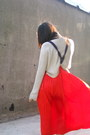 Red-christian-dior-skirt-heather-gray-h-designer-sweater