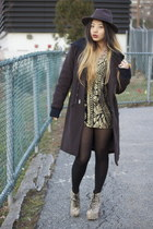 black and gold vintage dress - G Star coat - lita python Jeffrey Campbell heels