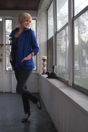 blue Forever 21 coat - blue Forever 21 jeans - gray decree shirt - blue Forever