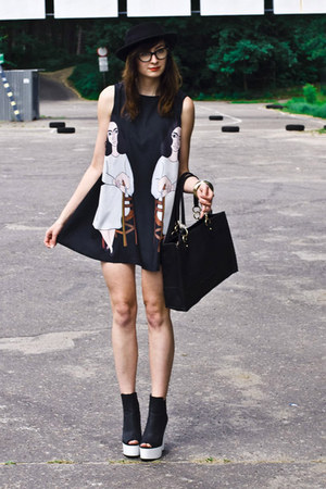 lady print Sheinside dress - black Rowme hat