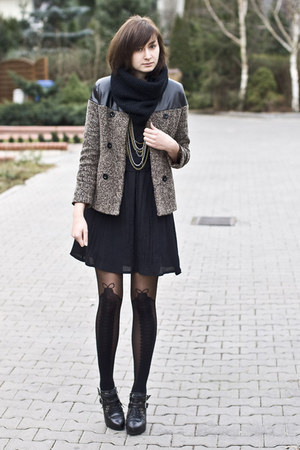 leather romwe coat - black romwe tights
