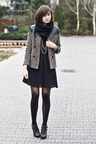leather romwe coat - black romwe tights
