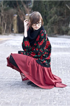 rose Sweater sweater - burgundy Sheinside skirt