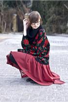 rose Sweater sweater - burgundy Sheinside skirt