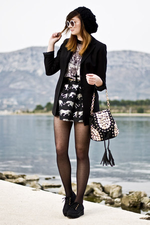 leopard romwe skirt - dotted romwe tights - studded romwe bag