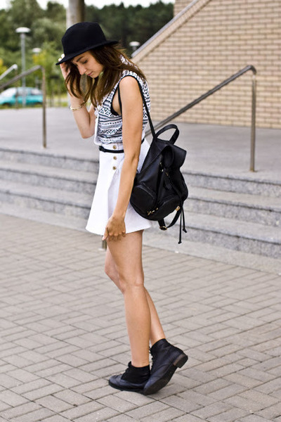 black romwe shoes - suspender Sheinside dress - backpack yeswalker accessories