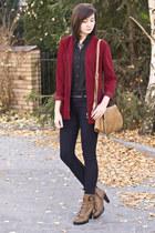 dark red vintage blazer - camel romwe boots - dark blue Zara jeans