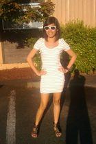 white H&M dress - brown shoes