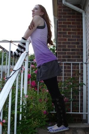 alloy top - American Eagle skirt - Wet Seal leggings - H&M - alloy shoes - neckl
