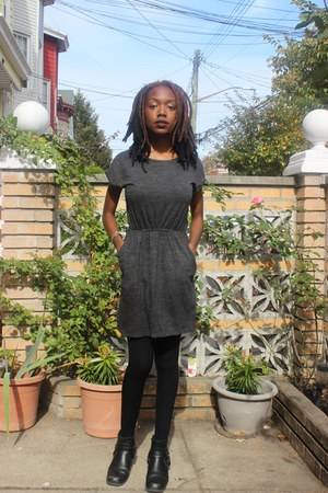 black H&M boots - gray H&M dress - black fleece lined Urban Outfitters stockings
