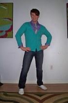 navy Guess jeans - light purple le chateau shirt - Aldo tie - aquamarine H&M car