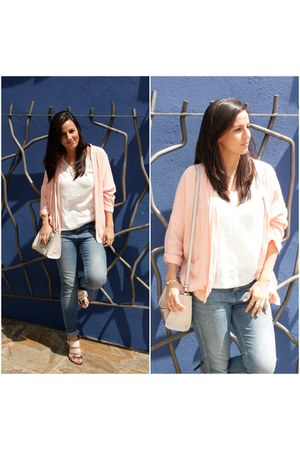 off white Zara bag - light pink Zara heels - light pink Bershka cardigan