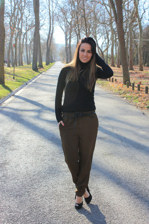 black Zara sweater - army green Cuple pants