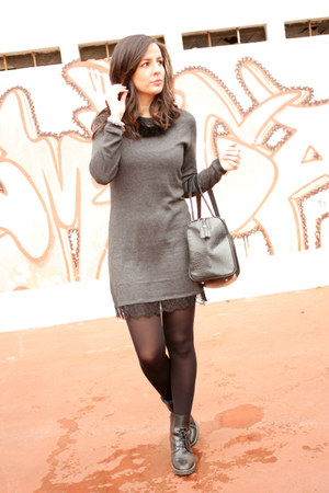 black Callaghan boots - gray Springfield dress - black Mango bag