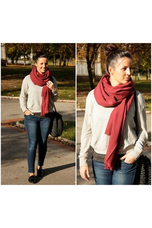 black pull&bear shoes - brick red moa scarf