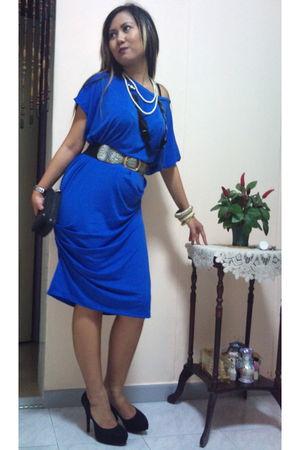 blue Eyfa Sufi dress - black new look shoes - black gift purse - black Swap from