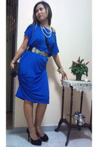 blue Eyfa Sufi dress - black new look shoes - black gift purse - black Swap from