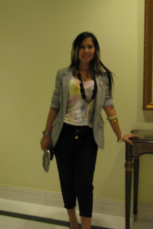 new look blazer - Eydithe pants - Mango t-shirt - new look bracelet