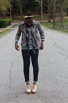 necessary clothing jacket - striped Zara shirt