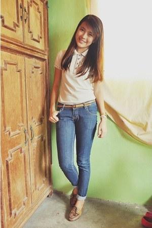 eggshell polo shirt Penshoppe top - navy skinny jeans Penshoppe jeans