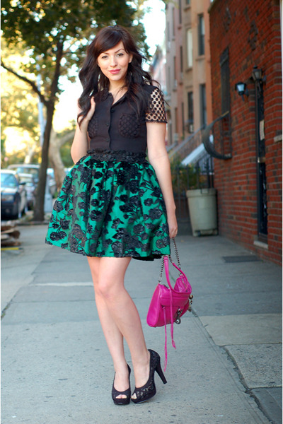 pink Rebecca Minkoff bag - black Nine West shoes - green postlapsaria skirt