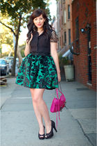 pink Rebecca Minkoff bag - black Nine West shoes - green postlapsaria skirt