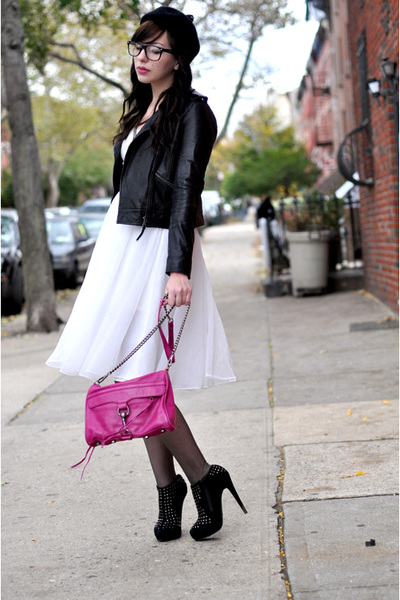 pink Rebecca Minkoff bag - black Senso shoes - white vintage dress