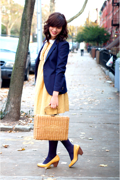 yellow dress - yellow shoes - blue blazer