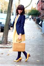yellow dress - yellow shoes - blue blazer
