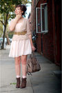 Brown-seychelles-boots-pink-h-m-dress-beige-coach-beige-modcloth-blouse-