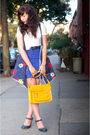 Blue-skirt-blue-forever-21-dress-white-shirt-gold-purse