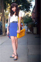 blue skirt - blue Forever 21 dress - white shirt - gold purse
