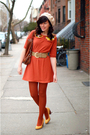 Orange-postlapsaria-dress-brown-rebecca-minkoff-purse-gold-seychelles-shoes